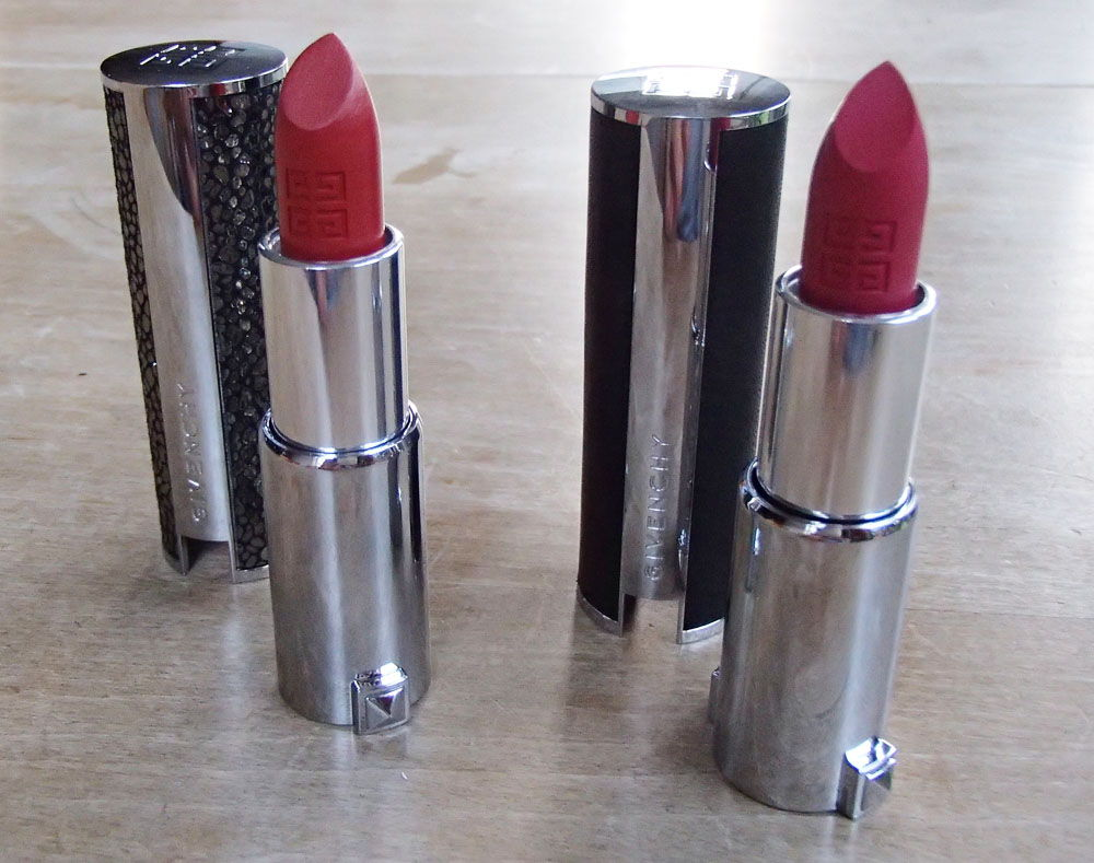 Swatches: Givenchy Le Rouge 308 Rouge D'Exception & 204 Rose Budoir