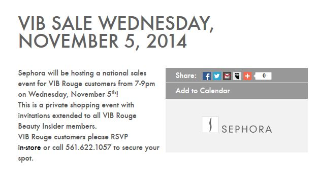 Sephora VIB Sale Fall 2014 Rouge Event